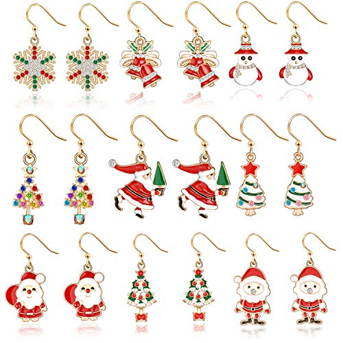 9 pairs Christmas Drop Dangle Earrings Holiday Jewelry Set gifts for Womens Girls,Thanksgiving Xmas Jewelry Earrings.