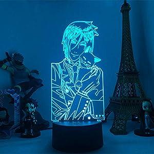 3D Night Light for Kids,Led Lamp Black Butler Anime Figure for Room Decoration Light Kids Child Table Desk Lamp Nightlight for Birthday Gift