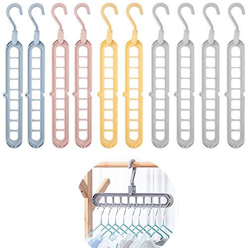 Uponer 10 Pezzi Grucce Appendiabiti Salvaspazio Antiscivolo Grucce Appendiabiti Girevole Multifunzione Organizzatore di Appendiabiti con Gancio Rotante a 360° e 9 Fori per Asciugatura e conservazione