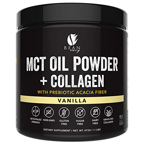 MCT Oil Powder + Collagen + Prebiotic Acacia Fiber - 100% Pure MCT's - Perfect for Keto - Energy Boost - Nutrient Absorption - Appetite Control - Healthy Gut Support - Vanilla