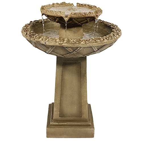 Sunnydaze Beveled Flower Outdoor Water Fountain - 2-Tier Backyard Water Feature & Bird Bath Garden Fountain for Outside Patio, Lawn, Yard - 28 Inch