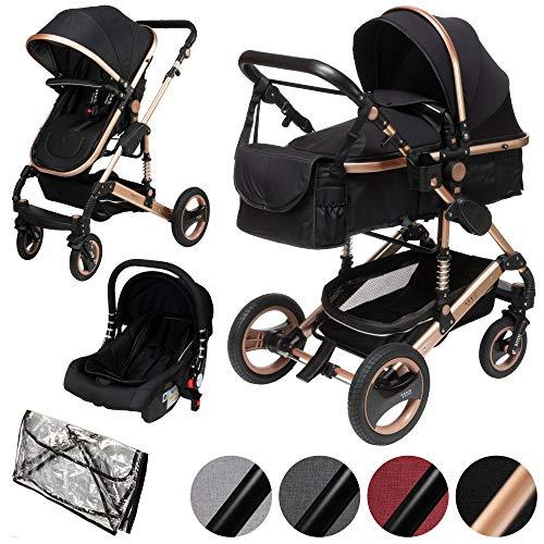 ib style® SOLE 3 in 1 Kombi Kinderwagen | inkl. Auto Babyschale | Zusammenklappbar | inkl. Regen- & Mückenschutz | 0-15kg |Schwarz/Gestell: Champagner