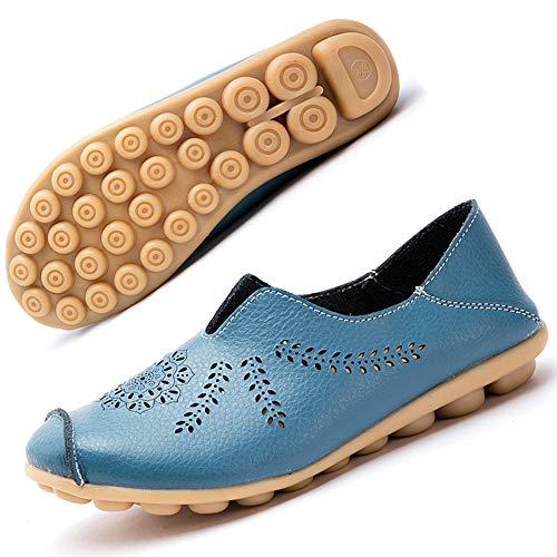 Mocassins Femmes Cuir Chaussures Plates Loafers Casual Confort Bateau Chaussures de Conduite Été Sandales Bleu EU39.5=CN41