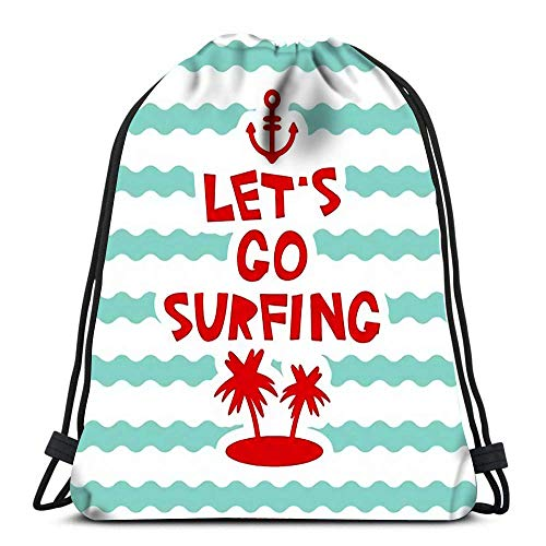 Drawstring Bags Backpack Lets Go Surfing Anchor Palm Island On Blue Waves Sea Ocean Travel Backpacks Tote School Rucksack