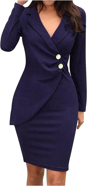 Womens Elegant Work Office Vintage Blazer Dress