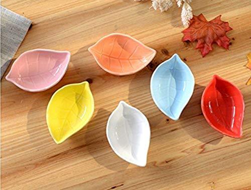 EPRHY Platos de cerámica Multiusos para condimentos, Aperitivos, Platos de Porcelana con Forma de Hoja, Juego de Platos para vinagre o Ensalada de Salsa de Soja o Wasabi, 4Unidades,Color aleatorio