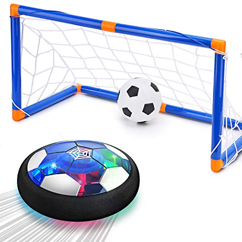 Hover Soccer Ball Kids Toy - Rechargeable 2 Goals and Inflatable Ball,Indoor Floating Soccer with LED Light and Safe Bumper,Gifts for Age 3 4 5 6 7 8 9 10 Years Old Boys Girls(No AA Batteries Needed)