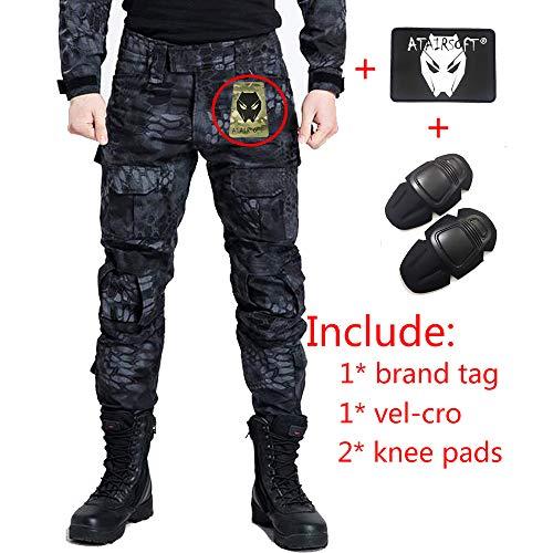 Pantalones de combate para hombres tipo uniforme BDU (Uniforme de batalla) con rodilleras de protección, ideales para el ejército, fuerzas militares, juegos como airsoft y paintball, de WorldShopping4U, color azul, tamaño X-Large