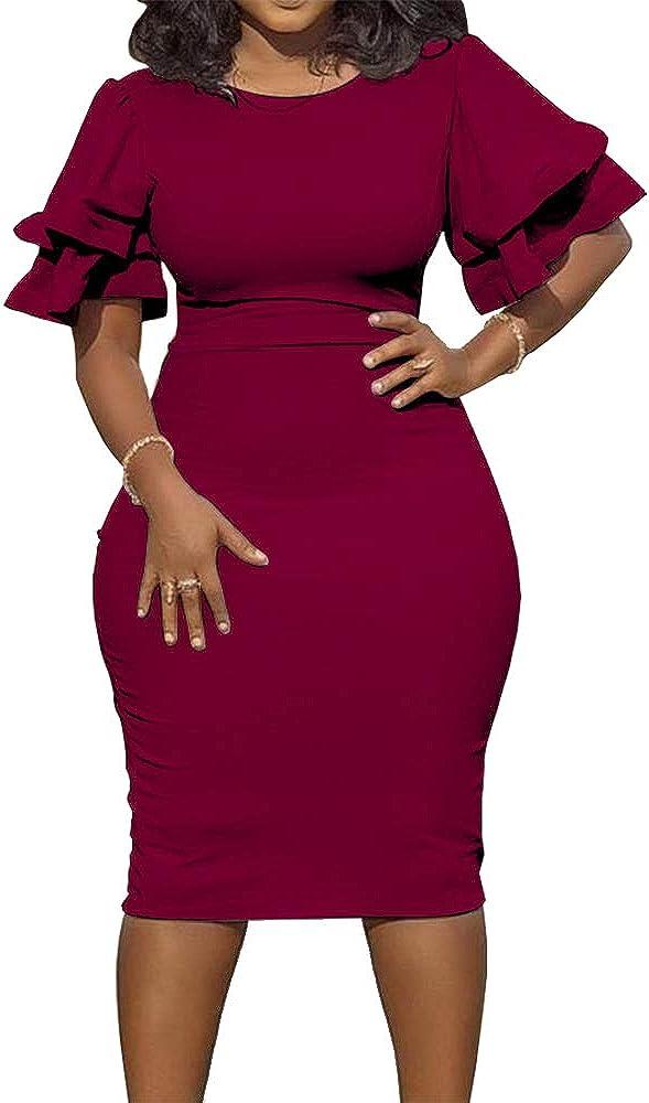 AOMEI Women's Crewneck Ruffles Short Sleeve Knee Length Slim Pencil Dress