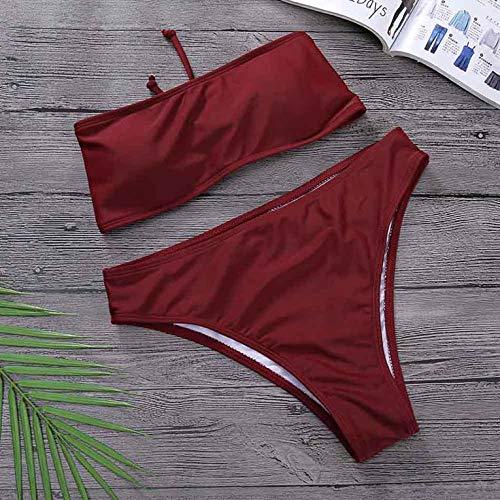 Eletam Conjunto de Bikini sin Tirantes Sexy de Cintura Alta 2019 Nuevo Traje de baño de Moda Simple para Mujer Traje de baño de Playa brasileño Bikini Bandeau