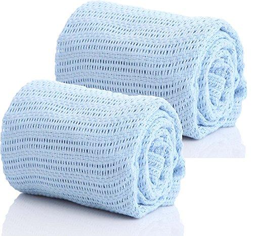 Zelluläre Luxus-Babydecke in hervorragender Qualität aus 100% reiner Baumwolle, für Babywagen / Kinderbett / Moses-Körbchen / Gitterbett, in 2 x blau von Stansbargains