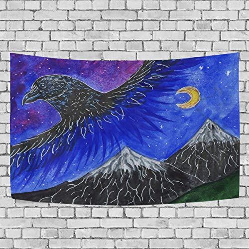 Tapiz para colgar en la pared, el cuervo vuela sus alas sobre las montañas nevadas, tapiz artístico para colgar en la pared para sala de estar, dormitorio, decoración del hogar, 60 x 51 pulgadas