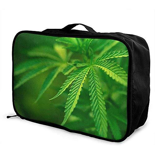 Verpakking kubussen Travel Bagage Bag Ontvang Opslag Organizer Grote Draagbare Set met Handvat Groen Blad Behang