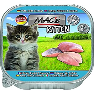 MACs Cat Feinschmecker 85g Kitten Pute, Huhn, Lachs Katzenfutter Schale 1