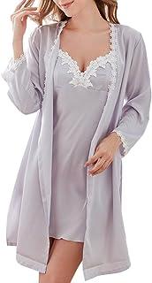 Casual Moda Pijamas de Mujer, V-Cuello Manga Larga Borde de Encaje, Ajustables Camisola y Camisones