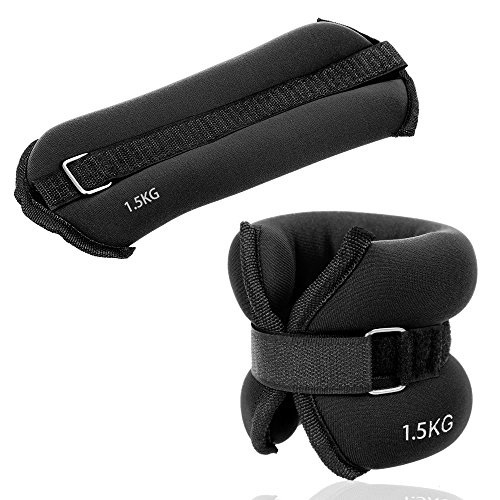 JBM Ankle Weights Wrist Leg Weights Sand Filling 2lb 4lb 6lb 1 Pair Adjustable Straps for Walking Jogging Gym Fitness Exercise Total Weight: 44lbs 22 lbs per Ankle  Black