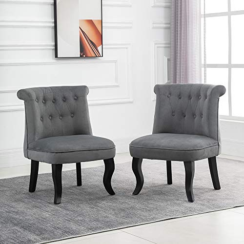 QIHANG-UK Retro Tub Chairs Set of 2, Soft Padded Wing Back Leisure Chiar Velvet Lounge Sofa Chair, Accent Occasional Chair with Wood Curved Legs for Living Room Bedroom Reception Room, Light Grey