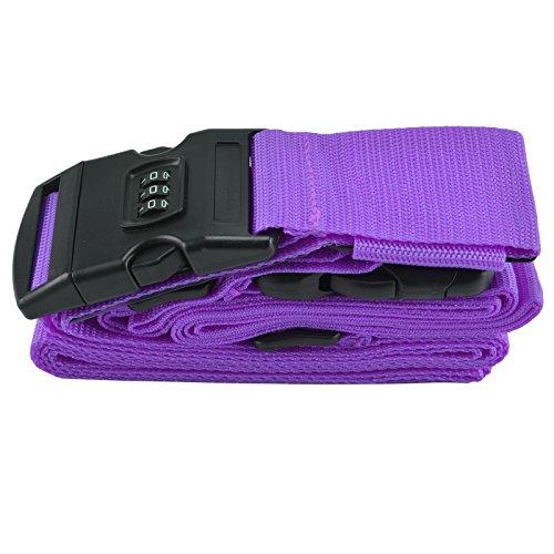 AllRight Adjustable Suitcase Luggage Straps Long Cross Travel Lock Belt Non-Slip Purple