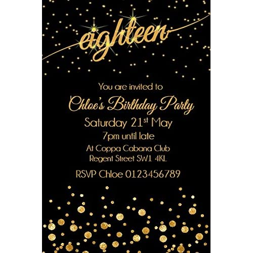 Personalised 18th Birthday Party Invitations X10