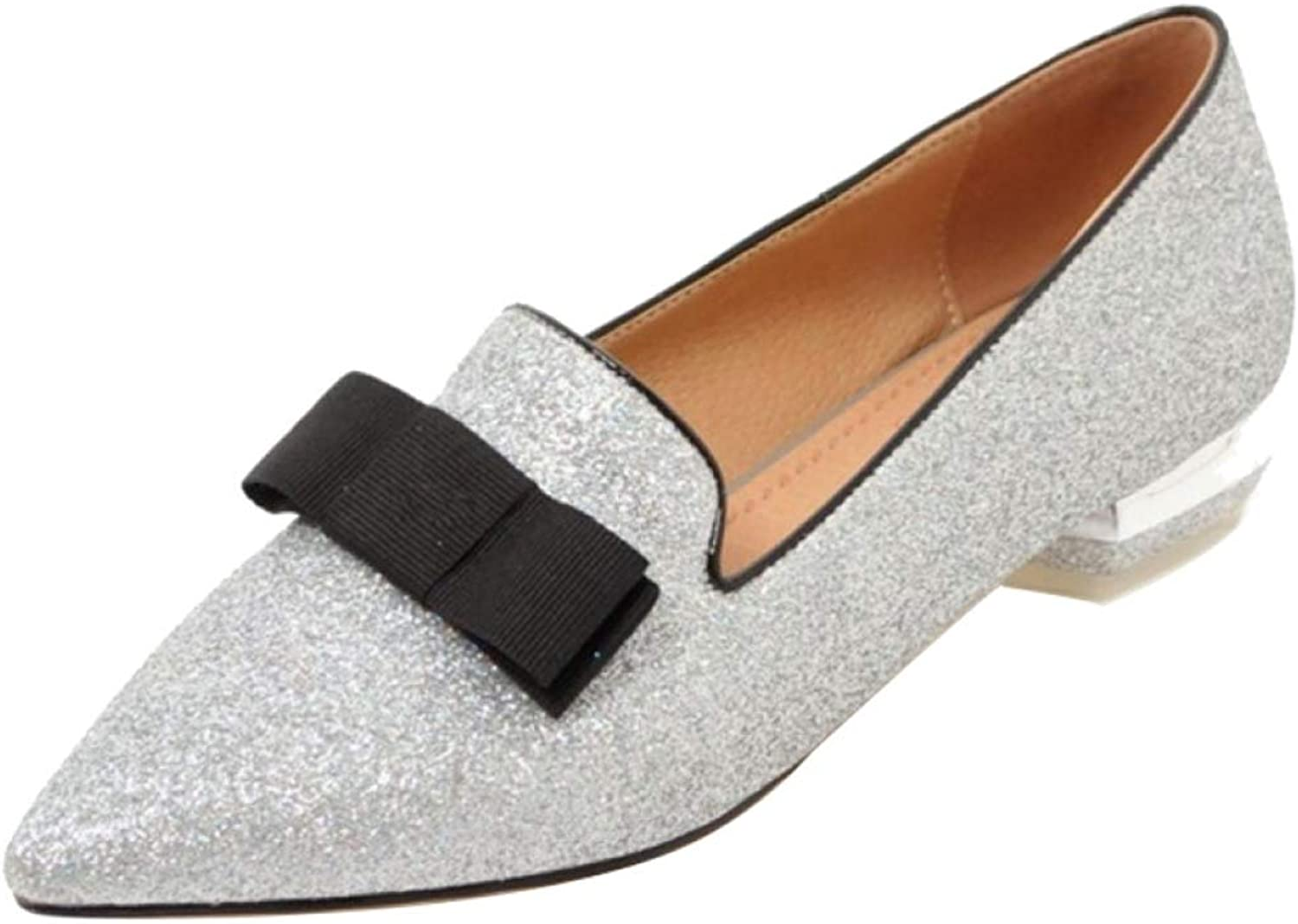 T-JULY Woman Mules Pumps with Low Heels Sequined Cloth Bling Comfortable Footwear Casual Formal Working shoes for Summer