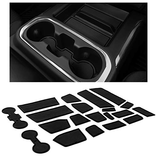 CupHolderHero for Chevy Silverado 1500 and GMC Sierra Accessories 2019-2021 Interior Cup Holder Inserts, Center Console Liner Mats, Door Pocket 24-pc Set (Crew Cab with Bucket Seats) (Solid Black)
