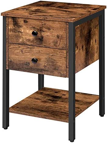 HOOBRO Nightstand with 2 Drawers and Open Shelf Industrial Square End Table for Storage Bedside product image