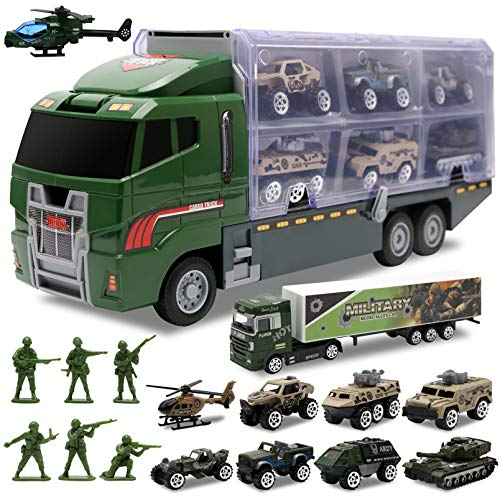 Toddler Toys for Boys,Trucks 10 in 1 Die-cast Military Truck Toy Play Army Vehicle in Carrier Mini Battle Car Toy Set Gifts Toddlers Toys for 3 4 5 6 7 Year Old Boy Kids by ALOTJOY