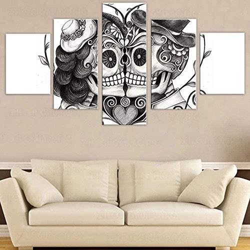 Lienzo de arte de pared para sala de estar, pinturas de 5 piezas, imágenes de calavera y terror, ilustraciones modernas, decoración del hogar, carteles e impresiones,