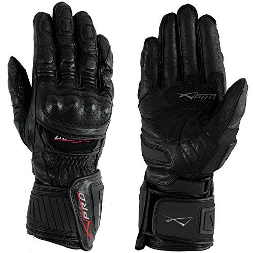 A-Pro Motorradhandschuher Motorrad hochwertige Handschuhe Leder Schwarz XXL