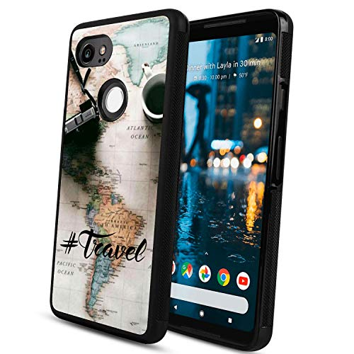 Travel Around The World Google Pixel 2 XL Phone Case, Shockproof Soft TPU Premium PC Protective Customized Design Bumper for Google Pixel 2 XL-Black