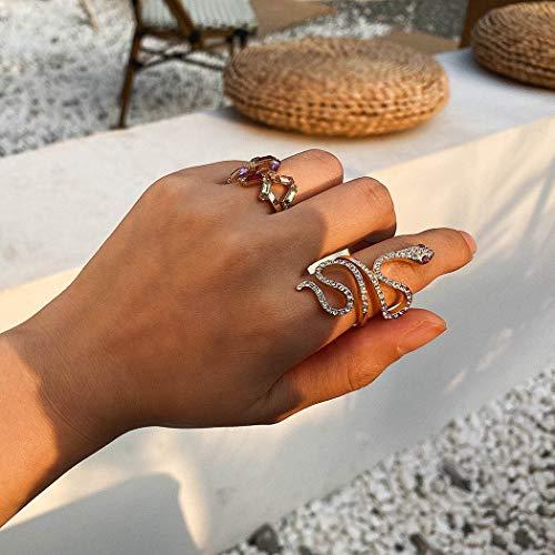 Sethain Clásico Diamante de imitación Set de anillos Oro Serpiente anillo Anillo cruzado Joyas para mujeres y niñas