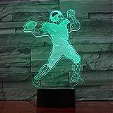 3D Nachtlichter Rugby-Spieler 3D Lampe 5V USB LED Nachtlampe Acryl Lava Lampe Rugby Deco Nachtlicht Beste Nizza Geschenk für Fußballfan