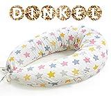 NATURECA Cuscino Gravidanza per dormire Cuscino Allattamento pula di Farro, Cuscino maternita Federe cuscino Cotone, Cuscino Neonato multiuso 170 x 30cm