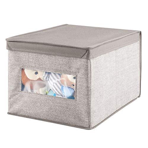 mDesign Caja organizadora con tapa para cambiador - Caja de tela jaspeada, ideal para organizar armarios, guardar prendas de ropa, pañales y artículos de bebés - beige