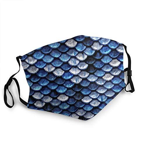 Unisex-Erwachsene Fashion Gesichtsschutz-Abdeckung, Metallic Kobaltblau Fischschuppen Stoffmaske wiederverwendbar atmungsaktiv staubdicht waschbar Bandanas für Wandern Laufen Radfahren