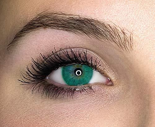 Kontaktlinsen farbig ohne Stärke farbige Jahreslinsen weiche Linsen soft Hydrogel 2 Stück Farblinsen + Linsenbehälter 0.0 Dioptrien natürliche Farben Serie Queen Verde (grün)