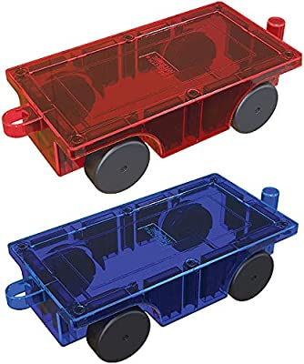 PicassoTiles? 2 Piece Car Truck Set w/ Extra Long Bed & Re-Enforced Latch, Magnet Building Tile Magnetic Blocks -Creativity Beyond Imagination! Educational, Inspirational, Conventional,& Recreational!