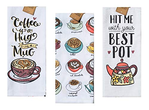 Coffee Theme Kitchen Towels | Set of 3 Cotton Decorative Towels with Coffee Cup, Pot, Mug Print for Dish and Hand Drying | 18 inch x 28 inch