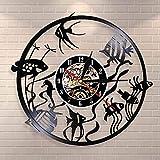 TJIAXU Reloj de Pared Goldfish Reloj de Pared Minimalista Decoración del hogar Diseño Moderno Reloj de Pared con Registro de Vinilo Reloj de Pared de decoración de Acuario de jardín de Infantes