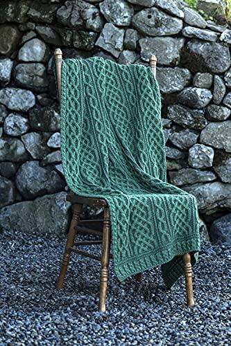 Carraig Donn Irish Cable Knit Blanket Celtic Aran Throw - 100% Merino Wool Made in Ireland - 40'x 55' (102 x 140)(Kiwi/Connemara Green)