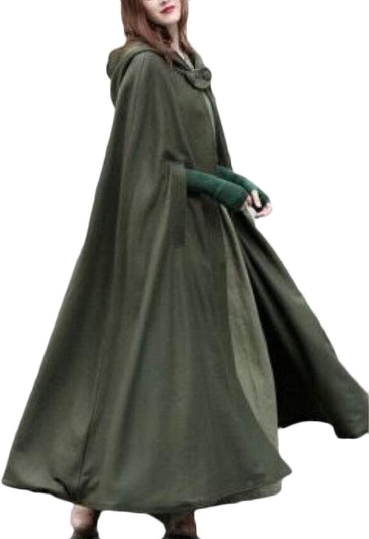 GenericWomen Casual Cloak Jacket Wool Blend Outwear Cardigan Solid Coat