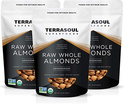 Terrasoul Superfoods Raw Unpasteurized Organic Almonds, 6 Lbs (3 Pack)