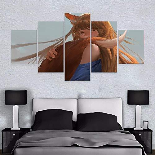 ZNNHERO Cuadro sobre Lienzo Impresiones en Lienzo Cuadros Arte de la Pared 5 Piezas Spice and Wolf Anime Girl Poster Modular Impresiones en Lienzo