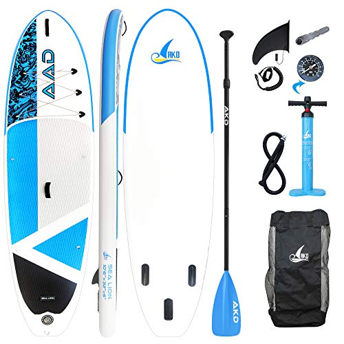 "AKD Stand Up Paddle Gonflable, Paddle Gonflable Kayak 320x86x15cm Germany Sea Lion 10'6""XL Sup avec Pompe, TÉLescopique en Pagaie, Sac De Transport, Surf Leash, Adulte 160kg Canoe Gonflable 2 Places"