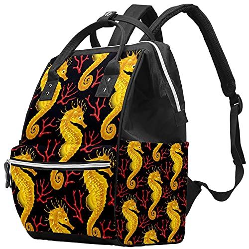 Elegante bolso de pañales, mochila de viaje para ordenador portátil, mochila impermeable para mujeres, hombres, rojo, rosa, amarillo, nota musical, regalo de estrella, Color2., Talla única