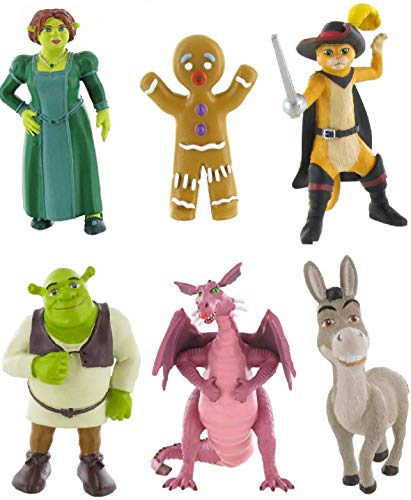Comansi Shrek Figuren Set mit Shrek, Fiona, Esel, Kater, Drache und Lebkuchenmann