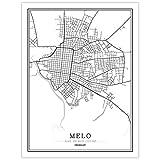 YUAN Leinwand Bild,Uruguay Melo Stadt Karte Schwarz Weiß
