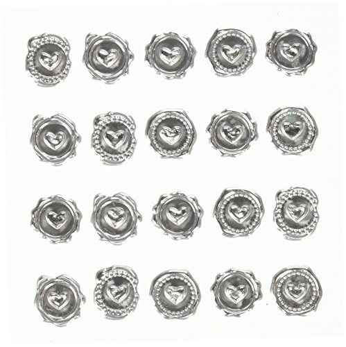 Darice David Tutera Illusion Wax Seal Heart Stickers-Silver