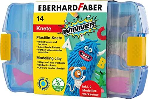 Eberhard Faber 572010 - Winner Plastilin-Knete in 7 leuchtenden Farben, Kunststoffbox mit 14 Knetstangen und 2 Modellierwerkzeugen, weich und formbar, für kreativen Bastel- und Knetspaß