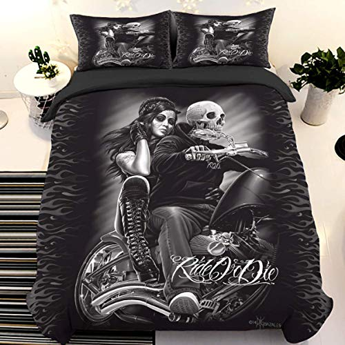 Juego de cama con calavera Juego de funda nórdica con estampado 3D Ride or Die con 2 fundas de almohada Juego de cama con cierre de cremallera Juego de funda de edredón de microfibra suave 220